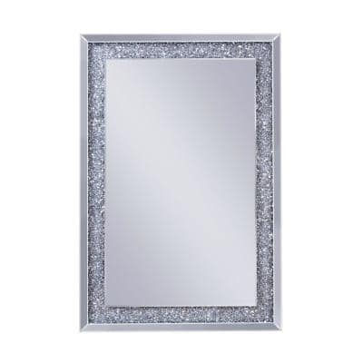 47.24 in. x 1.57 in. Clear Rectangle Wooden Frame Mirrored Accent Wall Decor with Faux Crystal Inlay
