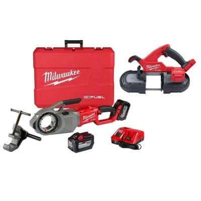 M18 FUEL ONE-KEY Cordless Brushless Pipe Threader Kit with M18 Fuel Compact Bandsaw Tool