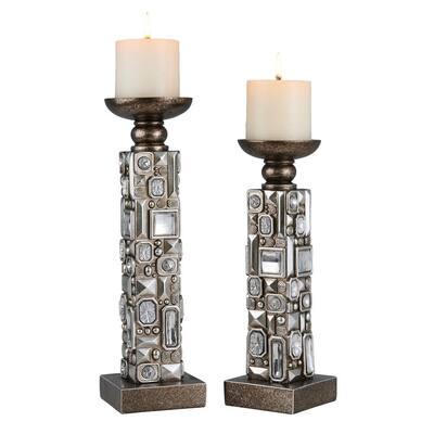 Silver Sierra Polyresin Candleholders (Set of 2)