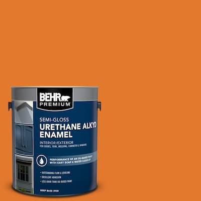 1 gal. #OSHA-3 OSHA SAFETY ORANGE Urethane Alkyd Semi-Gloss Enamel Interior/Exterior Paint