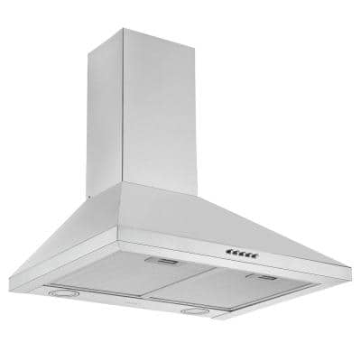 24 in. Convertible Wall Mount Pyramid Range Hood in Stainless Steel with LED lights