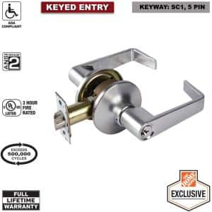 Commercial 2-3/4 in. Satin Chrome Standard Duty Keyed Entry Door Lever