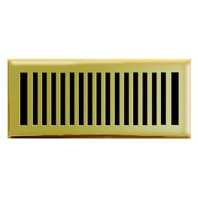 4 in. x 12 in. New York Modern Floor Register in Polished Brass