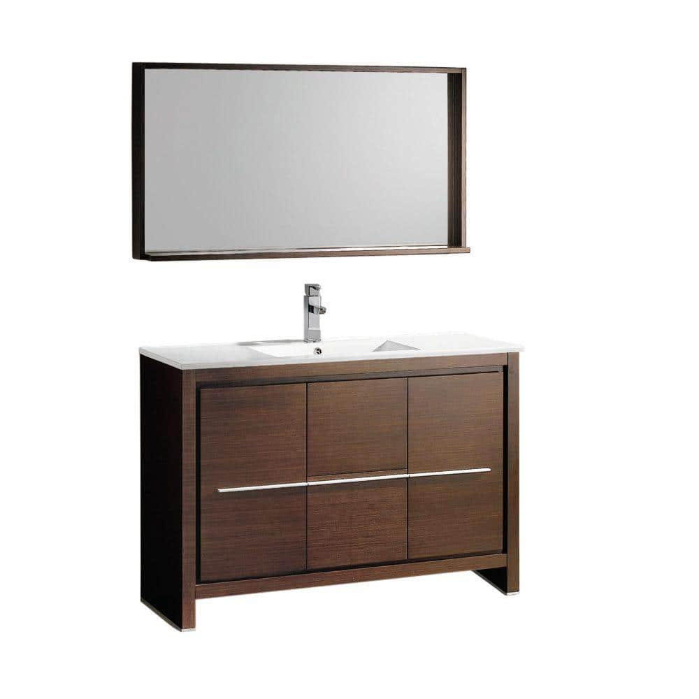 Fresca Allier 48 In Vanity Wenge Brown With Ceramic Top White And Mirror Fvn8148wg The Home Depot