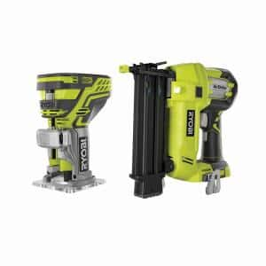 ONE+ 18V AirStrike 18-Gauge Cordless Brad Nailer with ONE+ 18V Cordless Fixed Base Trim Router (Tools Only)