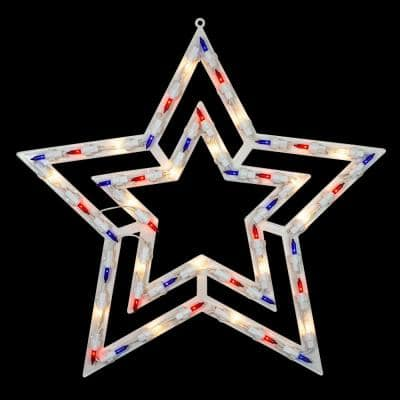 17 in. Lighted Red White and Blue Patriotic Star Window Silhouette Decoration