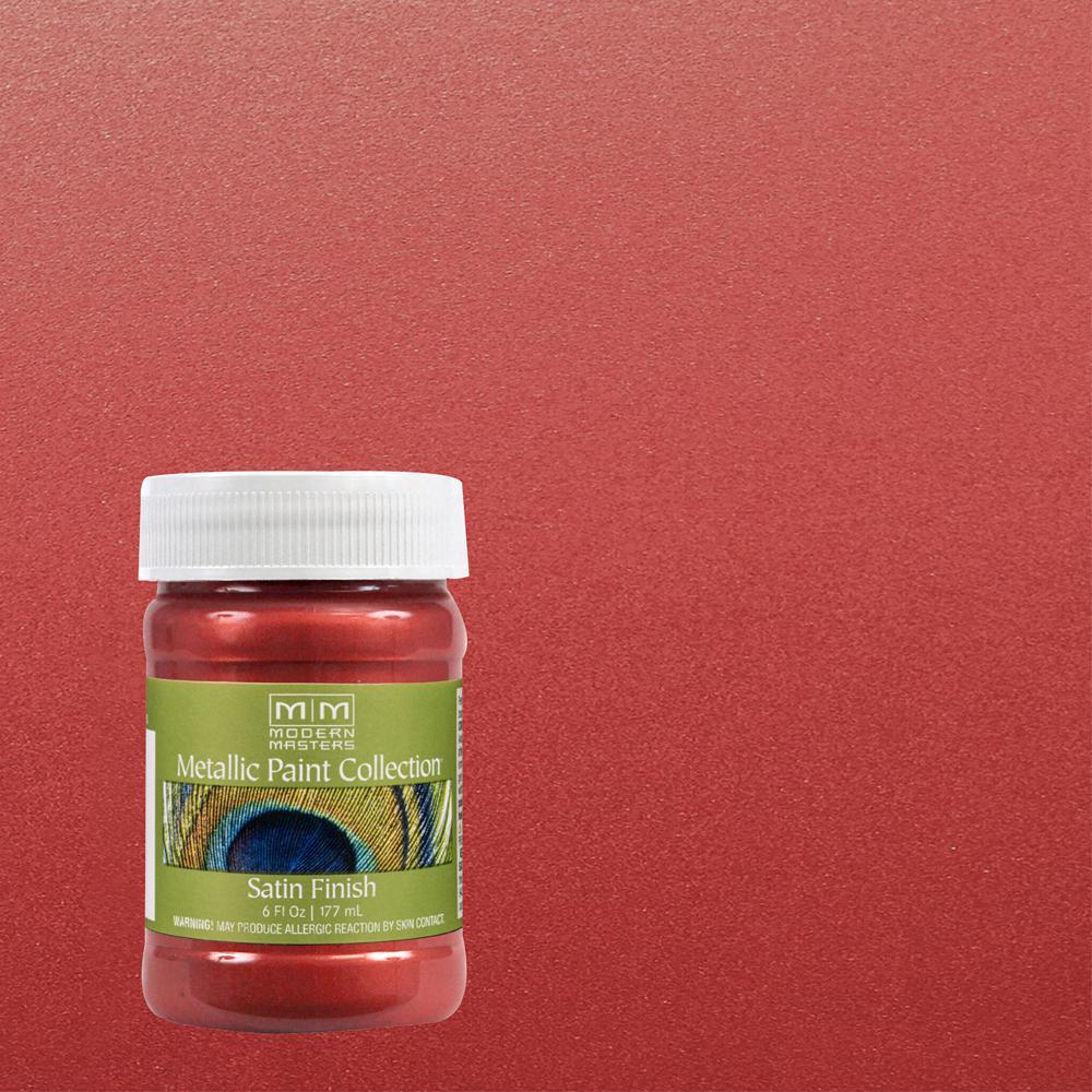 6 oz. Sashay Red Water-Based Satin Metallic Interior Paint