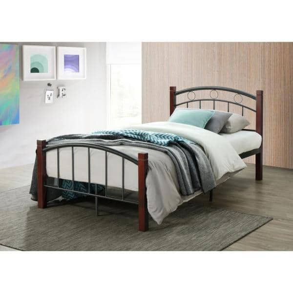 Hodedah Complete Queen Metal Bed With, Queen Bed Frame With Headboard And Footboard Wood