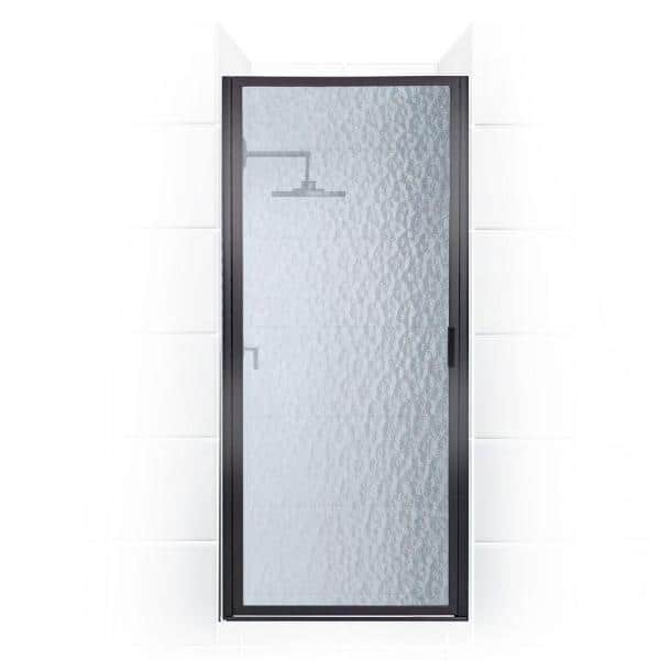 Coastal Shower Doors Paragon 34 In To 34 75 In X 70 In Framed Continuous Hinged Shower Door In Matte Black With Aquatex Glass P34 70o A The Home Depot