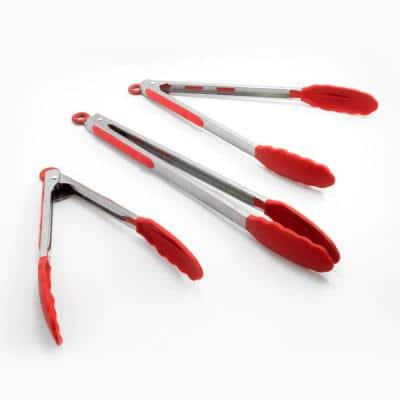 "Stainless Steel Red 9"" Silicone Tongs Set of 2 w/ Stay Cool Handle"