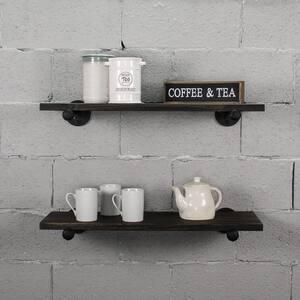 Honolulu Industrial Farmhouse 18 in. Wide Espresso 2-Piece Flat Wall Mounted Shelf Set