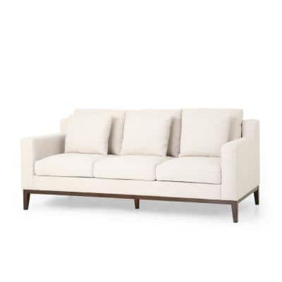 Ovando 80 in. Beige and Dark Walnut Polyester 3 Seats Sofa with Accent Pillows