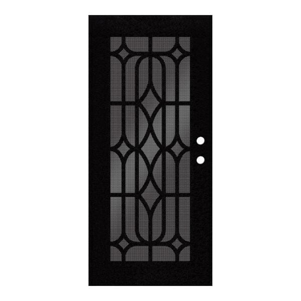 Unique Home Designs 36 In X 80 In Essex Black Right Hand Surface Mount Security Door With Black Perforated Metal Screen 1s1501el2bkp5a The Home Depot