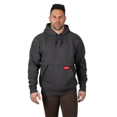 Men's 2X-Large Gray Heavy-Duty Cotton/Polyester Long-Sleeve Pullover Hoodie