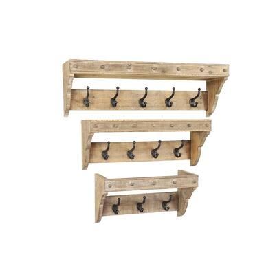12 in. x 34 in. Brown Wood Rustic Wall Hook (Set of 3)