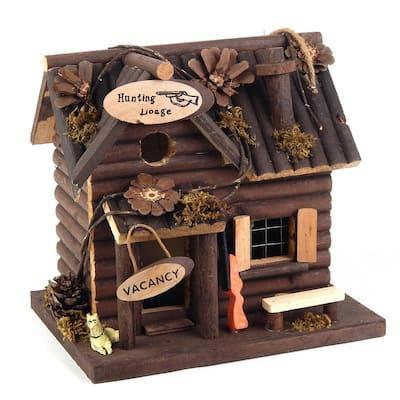 Hunting Lodge Cabin Fairy Garden Cedar Birdhouse