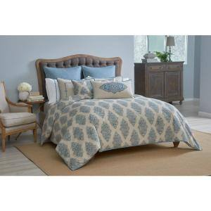 Monroe 15 in. Pleated Aqua Blue Solid Queen Bed Skirt