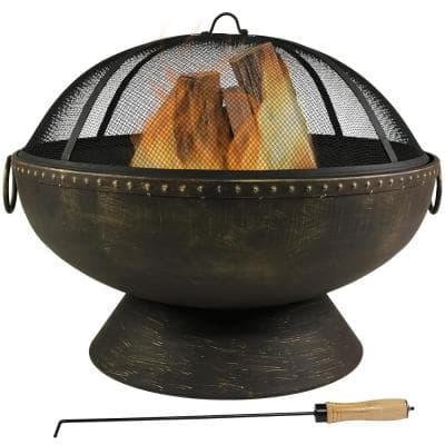30 in. x 24 in. Round Bronze Steel Wood Burning Fire Bowl with Handles and Spark Screen