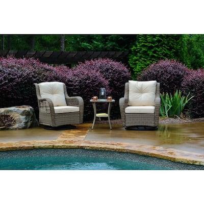 Rio Vista 3-Piece Wicker Outdoor Bistro Set with Beige Cushions