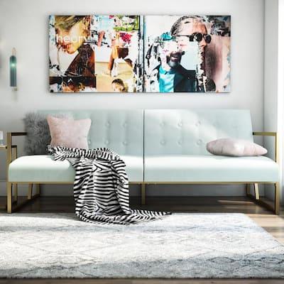 Lexington Bleached Teal Velvet Upholstery Gold Frame Modern Futon