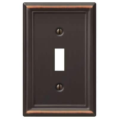 Ascher 1 Gang Toggle Steel Wall Plate - Aged Bronze