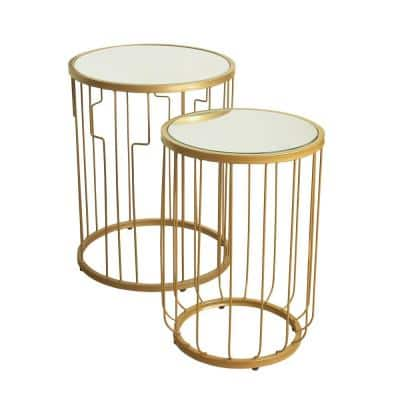 23.5 in. and 21.5 in. Gold Metal Base with Glass Top Accent Tables (Set of 2)