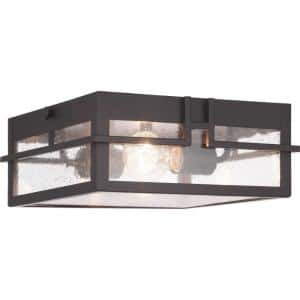 Boxwood Collection 2-Light Antique Bronze Clear Seeded Glass Craftsman Outdoor Ceiling Flush Mount Light