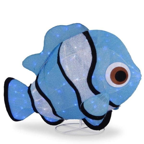 National Tree Company 38 in. Tinsel Fabric Blue Fish with Cool White LED   The Home Depot