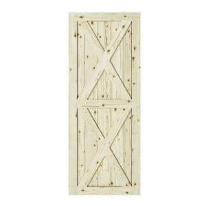 33 in. x 84 in. Magnolia X-Double Brace Unfinished Knotty Pine Interior Barn Door Slab
