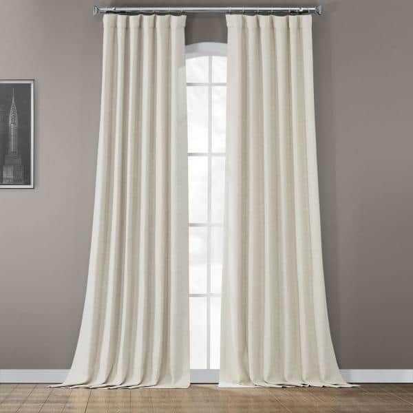 Exclusive Fabrics Furnishings Oat Cream Rod Pocket Blackout Curtain 50 In W X 120 In L Boch Pl4201 120 The Home Depot