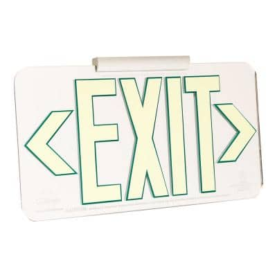 Mirrored 50' Visibility 5 fc Rated Energy-Free Photoluminescent UL924 Emergency Exit Sign LED Compliant - Green Outline