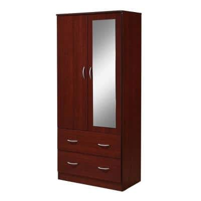 2-Door Armoire 71.6 in. H x 31.5 in. W x 16.75 in. D with 2-Drawers, Mirror and Clothing Rod in Mahogany