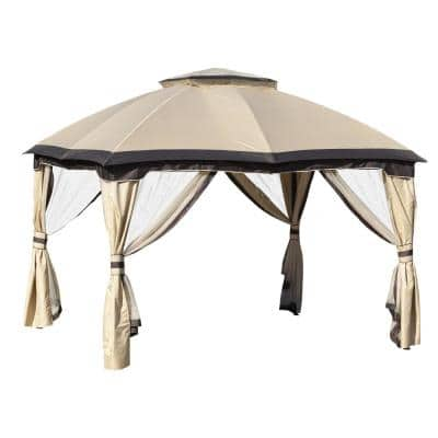 10 ft. x 12 ft. Beige Outdoor Patio Gazebo Canopy with Zippered Mesh Sidewalls and Arched Roof