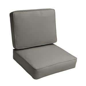 Sorra Home 23.5 in. x 23 in. Deep Seating Outdoor Corded Cushion Set in Sunbrella Canvas Charcoal
