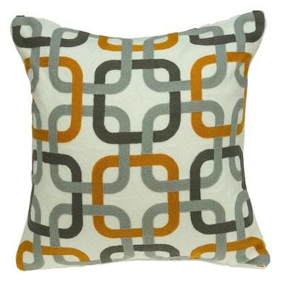 Boxer Grey and Orange Throw Pillow Cover