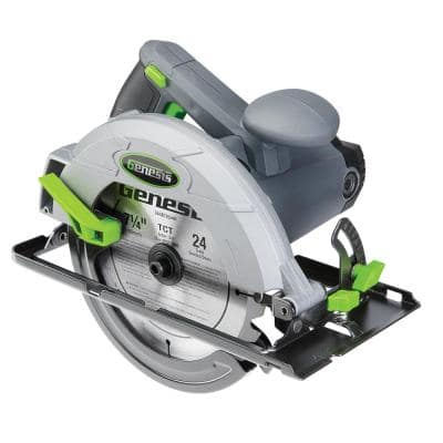 13 Amp 7-1/4 in. Circular Saw with Metal Lower Guard, Spindle Lock, 24T Blade, Rip Guide and Blade Wrench