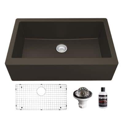 QA-740 Quartz/Granite 34 in. Single Bowl Farmhouse/Apron Front Kitchen Sink in Brown with Bottom Grid and Strainer