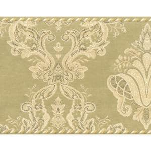 Dundee Deco Falkirk Brin Blooming Roses On Damask Scroll Yellow Green Red Wallpaper Border Bd6266 The Home Depot