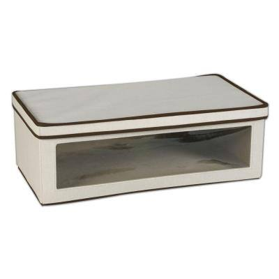 8 in. D x 8 in. H x 24 in. W Natural with Brown Trim Canvas Cube Storage Bin