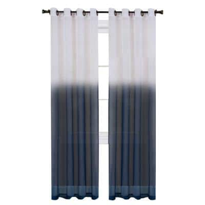 Essence 52 in. W x 63 in. L Polyester Light Filtering Window Panel in Blue