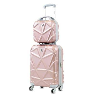 Gem 2-Piece Rose Gold Carry-On Spinner Cosmetic Suitcase