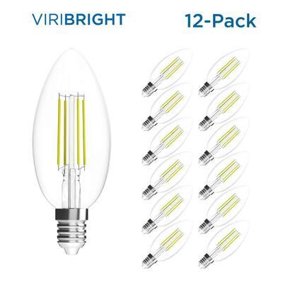 35-Watt Equivalent B10 Dimmable E12 Candelabra Base LED Light Bulb Warm White (12-Pack)