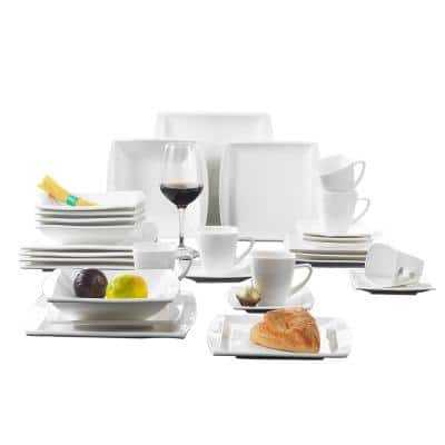 Blance 30-Piece Casual Ivory White Porcelain Dinnerware Set (Service for 6)