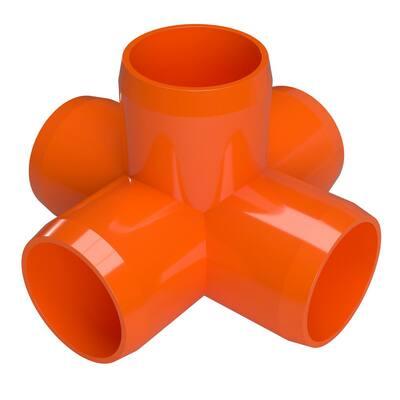 1/2 in. Furniture Grade PVC 5-Way Cross in Orange (10-Pack)