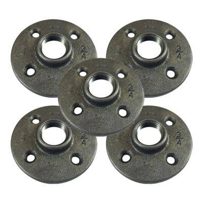 3/4 in. FPT x 4 in. Black Iron FPT Floor Flange (5-Pack)