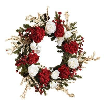 24in. Hydrangea Wreath with White Roses