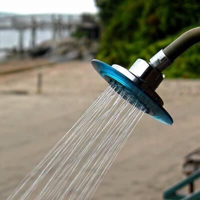 1-Spray 5.5 in. Single Wall Mount Fixed Shower Head in Dusk Blue