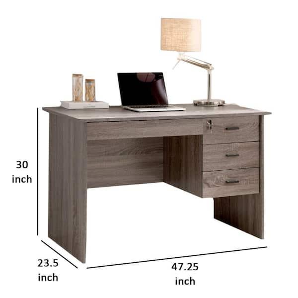 Benzara 48 In Rectangular Gray 3, Desk With Locking Drawers