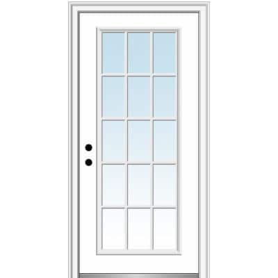 36 in. x 80 in. Classic Right-Hand Inswing 15-Lite Clear Glass Primed Steel Prehung Front Door on 6-9/16 in. Frame