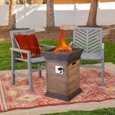 40000 BTU Outdoor Natural Lava Rock Firepit Heater Lava Rock Gas Fire Pit